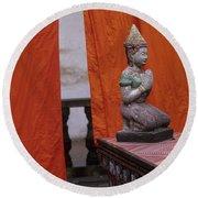 Statue At Wat Phnom Penh Cambodia Round Beach Towel