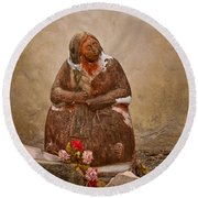 Statue From Mission San Juan Capistrano Round Beach Towel