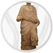 Statue Of A Roman Priest Wearing A Toga Round Beach Towel
