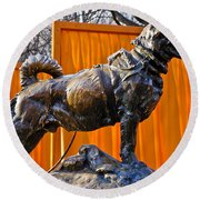 Statue Of Balto In Nyc Central Park Round Beach Towel by Anthony Sacco
