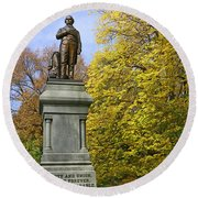 Statue Of Daniel Webster - Central Park Round Beach Towel