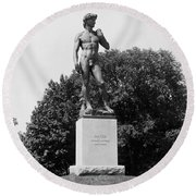 Statue Of David Delaware Park Buffalo Ny Round Beach Towel