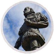 Statue Of Don Pedro Menendez De Aviles Round Beach Towel