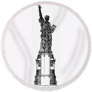 Statue Of Liberty, 1886 Round Beach Towel