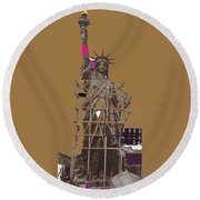 Statue Of Liberty Being Built 1876-1881 Paris Collage Pierre Petit                     Round Beach Towel
