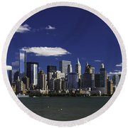 Statue Of Liberty Ferry 2 Round Beach Towel