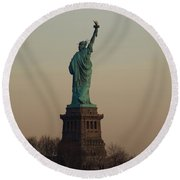 Statue Of Liberty From The Jersey Side Round Beach Towel