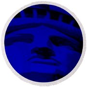 Statue Of Liberty In Blue Round Beach Towel