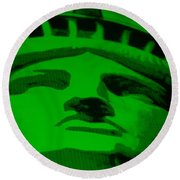 Statue Of Liberty In Green Round Beach Towel