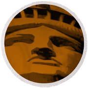 Statue Of Liberty In Orange Round Beach Towel