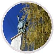 statue of liberty in Paris Round Beach Towel