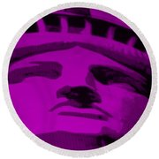 Statue Of Liberty In Purple Round Beach Towel