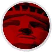 Statue Of Liberty In Red Round Beach Towel by Rob Hans