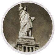 Statue Of Liberty Sepia Round Beach Towel