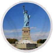 Statue Of Liberty Tourism Round Beach Towel