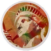 Statue Of Liberty Watercolor Portrait No 1 Round Beach Towel