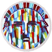 Statue Of Liberty With Colors Round Beach Towel