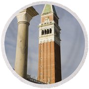 Statue Of Lion Of St. Mark And The San Marco Bell Tower Round Beach Towel