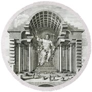 Statue Of Olympian Zeus Round Beach Towel