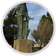 Statue Of Saint Clare Santa Clara Calfiornia Round Beach Towel