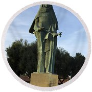 Statue Of Saint Clare Santa Clara California Round Beach Towel