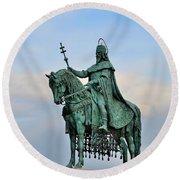 Statue Of St Stephen Hungary King Round Beach Towel