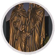 Statue Of The Holy Family  Round Beach Towel