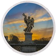Statue With Cross Round Beach Towel