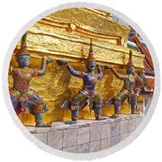 Statues At A Temple, Wat Phra Kaeo Round Beach Towel