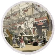 Statues In The Belgium Section Round Beach Towel