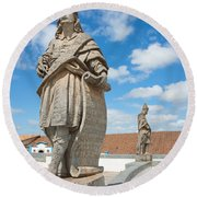 Statues Of Prophets Round Beach Towel