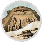 Statues Of Rameses Round Beach Towel