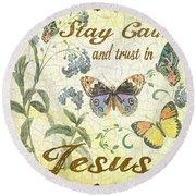 Stay Calm-trust In Jesus-2 Round Beach Towel