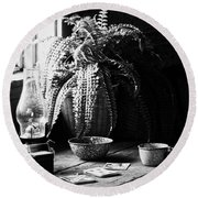 Stay In Pane  Round Beach Towel