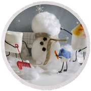 Stay Puff Snowman Round Beach Towel