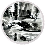 Ste Marie Du Lac Pond And Parish Round Beach Towel