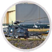 Stealth Air Attack Helicopter Round Beach Towel
