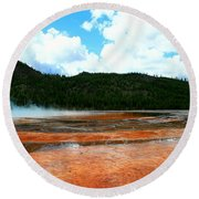 Steam And Trees Round Beach Towel