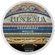 Steam Boat Willie Signage Main Street Disneyland 01 Round Beach Towel