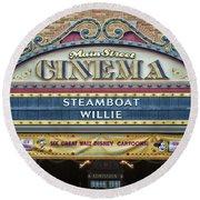 Steam Boat Willie Signage Main Street Disneyland 01 Round Beach Towel