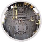 Steam Engine 444 Fire Box And The Controls Round Beach Towel