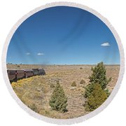 Steam Engine 489 At The Lava Tank On The Cumbres And Toltec Scenic Railroad Round Beach Towel