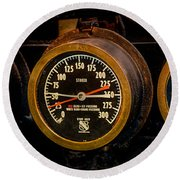 Steam Engine Gauge Round Beach Towel
