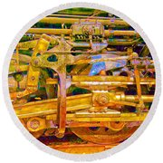 Steam Engine Linkage 3 Round Beach Towel