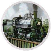 Steam Engine Locomotive Round Beach Towel