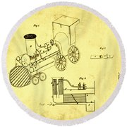 Steam Engine Patent 1869 Round Beach Towel