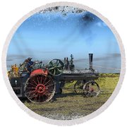 Steam Farming Round Beach Towel