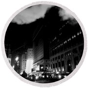 Steam Heat - New York At Night Round Beach Towel