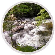 Steam In The Smoky Mountains Round Beach Towel