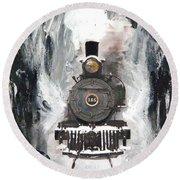 Steam Locomotive Round Beach Towel